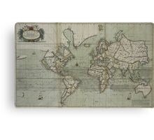 Vintage Map of The World (1702) 2 Canvas Print