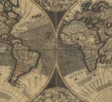 Vintage Map of The World (1702) 3 Sticker