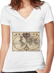 Vintage Map of The World (1720) Women's Fitted V-Neck T-Shirt