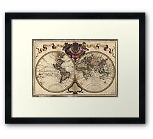Vintage Map of The World (1720) Framed Print