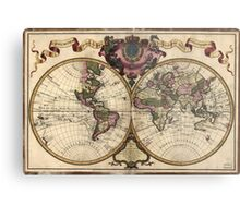 Vintage Map of The World (1720) Metal Print
