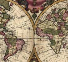 Vintage Map of The World (1720) Sticker
