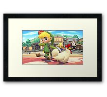Super Smash Bros. Toon Link and Cucco Framed Print