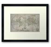 Vintage Map of The World (1736) Framed Print
