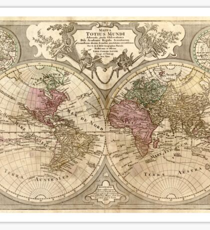 Vintage Map of The World (1775) 3 Sticker