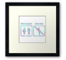 Surfing, problem solved Framed Print