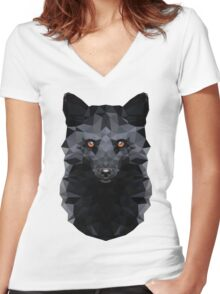 Low-poly Geometric Black Fox Women's Fitted V-Neck T-Shirt