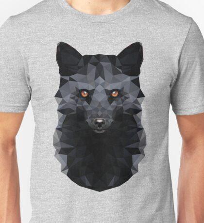 Low-poly Geometric Black Fox Unisex T-Shirt