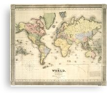 Vintage Map of The World (1840) Canvas Print
