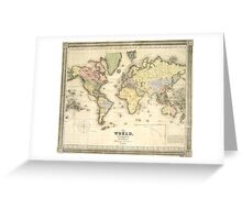 Vintage Map of The World (1840) Greeting Card