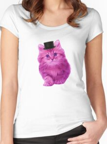 Top hat cat Women's Fitted Scoop T-Shirt