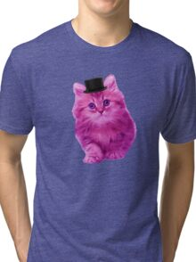 Top hat cat Tri-blend T-Shirt