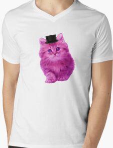 Top hat cat Mens V-Neck T-Shirt