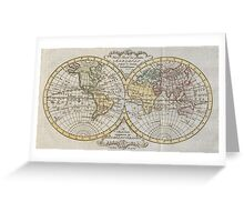 Vintage Map of The World (1795) Greeting Card