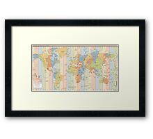World Time Zone Map Framed Print