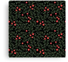 Floral pattern on black background Canvas Print