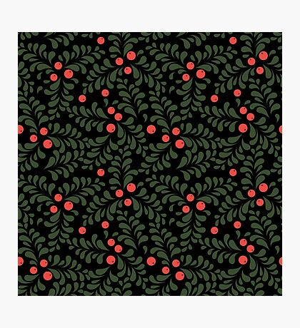 Floral pattern on black background Photographic Print