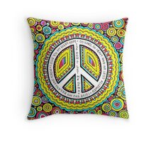 Psychedelic Polkadot Peace Throw Pillow