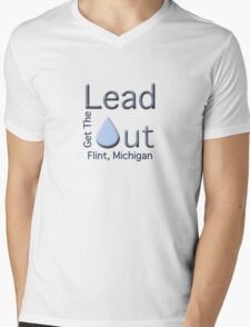 """Get the Lead Out Flint Michigan"" typography Mens V-Neck T-Shirt"