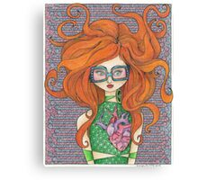 Girl in Rose-tinted Sunglasses Canvas Print