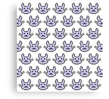 Purple Pixel Bunny Pattern Canvas Print