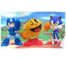 Super Smash Bros. Megaman, Pac-man, and Sonic Poster