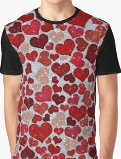 Sparkling Hearts, red Graphic T-Shirt