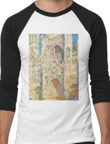 1894-Claude Monet-Rouen Cathedral, West Façade, Sunlight-65 x 100 Men's Baseball ¾ T-Shirt