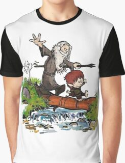 Bilbo and Gandalf Inspired Calvin And Hobbes Graphic T-Shirt