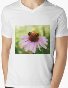 Echinacea Purpurea with Bees Mens V-Neck T-Shirt