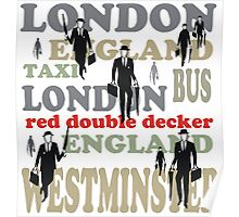 Stylish London lettering design with business executives Poster