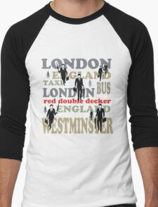 Stylish London lettering design with business executives Men's Baseball ¾ T-Shirt