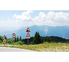 Road Signs at Top of Mountain Photographic Print