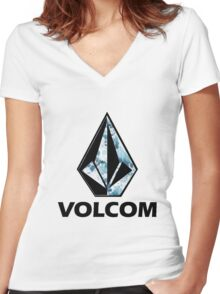VOLCOM logo Women's Fitted V-Neck T-Shirt