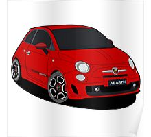 500 abarth red Poster