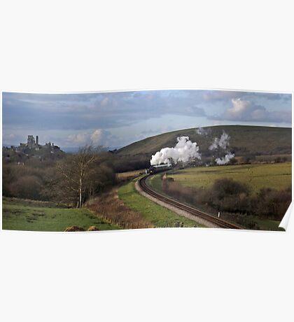 Sun, Steam and Corfe Castle Poster