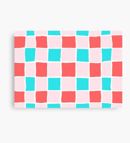 Ripped retro squares pattern Canvas Print