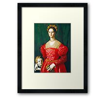 Agnolo Bronzino - A Young Woman and Her Little Boy  1540 Woman Portrait Framed Print