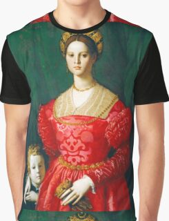 Agnolo Bronzino - A Young Woman and Her Little Boy  1540 Woman Portrait Graphic T-Shirt