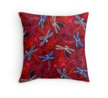 Red Hot Dragonfly Dance Throw Pillow