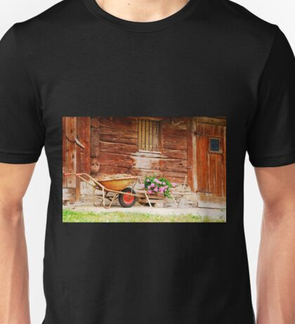 Rusted Wheelbarrow in Front of Wooden Farm House Unisex T-Shirt