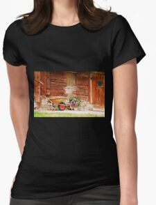 Rusted Wheelbarrow in Front of Wooden Farm House Womens Fitted T-Shirt