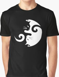 Ying Yang Cats - Black and white Graphic T-Shirt