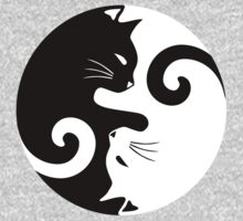 Ying Yang Cats - Black and white Kids Tee