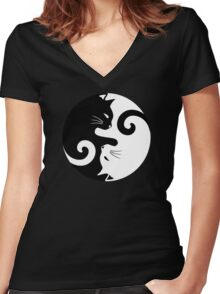 Ying Yang Cats - Black and white Women's Fitted V-Neck T-Shirt