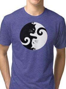 Ying Yang Cats - Black and white Tri-blend T-Shirt