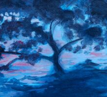 Tree in the ocean oil painting Sticker
