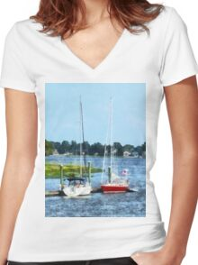 Two Docked Sailboats Norwalk, CT Women's Fitted V-Neck T-Shirt