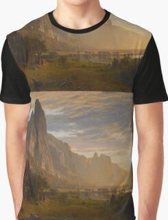 Albert Bierstadt - Looking Down Yosemite Valley, California American Landscape Graphic T-Shirt