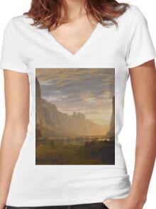 Albert Bierstadt - Looking Down Yosemite Valley, California American Landscape Women's Fitted V-Neck T-Shirt